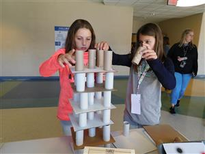 Students build a tower